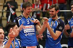 20160505 BEL: Volleybal: Noliko Maaseik - Knack Roeselare, Maaseik  <br />Joppe Paulides en Ruben van Hirtum