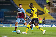 Shandon Baptiste (16) of Oxford United takes on Jack Wilshire (19) of West Ham United during the EFL Cup match between Oxford United and West Ham United at the Kassam Stadium, Oxford, England on 25 September 2019.