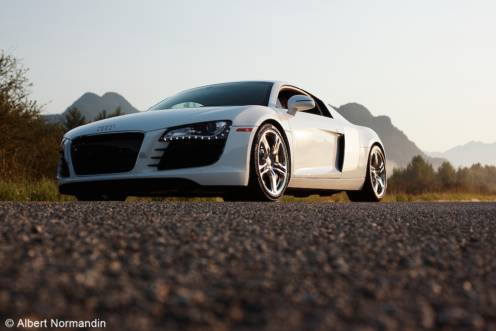 Audi R8 on road, early morning