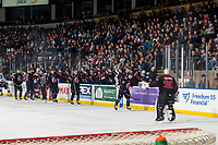 KELOWNA, CANADA - JANUARY 16: The Moose Jaw Warriors celebrate a goal against the Kelowna Rockets  on January 16, 2019 at Prospera Place in Kelowna, British Columbia, Canada.  (Photo by Marissa Baecker/Shoot the Breeze)