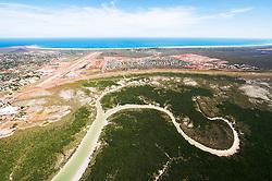 Aerial view of Broome, Western Australia, looking towards Roebuck Bay.