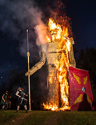 © Licensed to London News Pictures. 05/05/2018. Chalton, UK.    a 30 foot high Wickerman is burnt at The Beltain Festival at Butser Ancient Farm in Hampshire. Over two thousand people have gathered to witness the ancient Celtic celebration of summer - which will culminates in the burning of the giant Wickerman.  Photo credit: Peter Macdiarmid/LNP