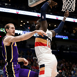 Mar 31, 2019; New Orleans, LA, USA; Los Angeles Lakers guard Alex Caruso (4) passes past New Orleans Pelicans forward Cheick Diallo (13) during the first quarter at the Smoothie King Center. Mandatory Credit: Derick E. Hingle-USA TODAY Sports