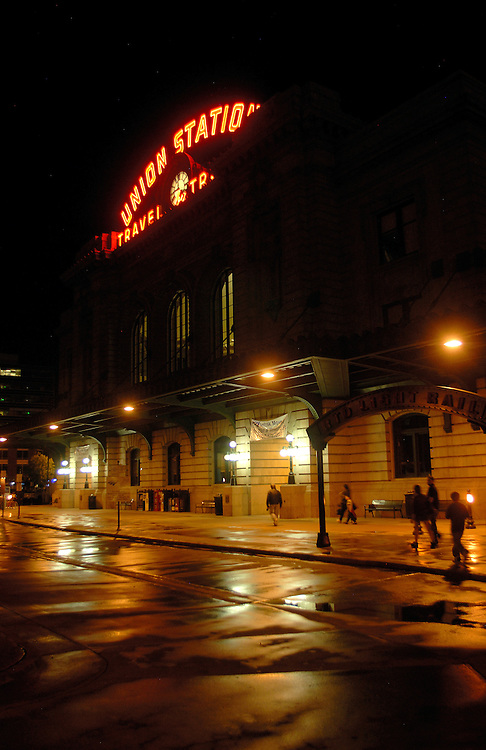 Union Station in Denver, Colo. at night after a spring rain.