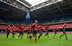 CARDIFF, WALES - Saturday, March 26, 2016: Wales' Tom Bradshaw during a training session at the Millennium Stadium ahead of the International Friendly match against Ukraine. (Pic by David Rawcliffe/Propaganda)