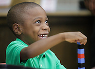 "New kindergarten student Chace Hatwood smiles during ""Bring Your Kids to Kindergarten Day"" at Chorley Elementary School in Middletown on Thursday, Sept. 6, 2012. This was the final first day of school at Chorley because teachers and students will move into the new Presidential Park Elementary School when that building is finished later this school year."