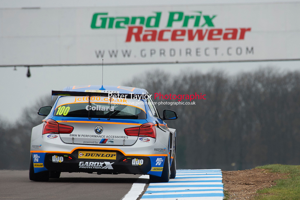 #100 Robert Collard GBR Team JCT600 with GardX BMW 125i M Sport during Media Day Test Session as part of the BTCC Media Day at Donington Park, Melbourne, Leicestershire, United Kingdom. March 22 2016. World Copyright Peter Taylor/PSP. Copy of publication required for printed pictures.  Every used picture is fee-liable.