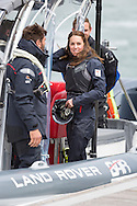The Duchess of Cambridge aboard a rigid inflatable boat during a visit to Sir Ben Ainslie's Land Rover BAR base in Portsmouth, Hampshire. <br /> Picture date Friday 20th May, 2016.<br /> Picture by Christopher Ison. Contact +447544 044177 chris@christopherison.com