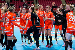 06-12-2019 JAP: Norway - Netherlands, Kumamoto<br /> Last match groep A at 24th IHF Women's Handball World Championship. / The Dutch handball players won in an exciting game of fear gegner Norway and wrote in the last group match at the World Handball  World Championship history (30-28). / Kelly Dulfer #18 of Netherlands, Lois Abbingh #8 of Netherlands, Martine Smeets #24 of Netherlands, Laura van der Heijden #6 of Netherlands, Merel Freriks #19 of Netherlands , Danick Snelder #10 of Netherlands, Tess Wester #33 of Netherlands