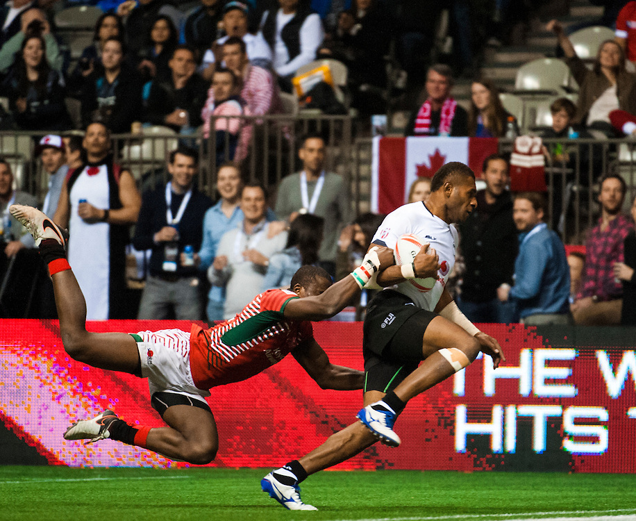 Jerry Tuwai is tackled by Willy Ambaka of Kenya during the pool stages of the 2016 Canada Sevens leg of the HSBC Sevens World Series Series at BC Place in  Vancouver, British Columbia. Saturday March 12, 2016.<br /> <br /> Jack Megaw<br /> <br /> www.jackmegaw.com<br /> <br /> 610.764.3094<br /> jack@jackmegaw.com