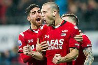 ALKMAAR - 20-02-2016, AZ - FC Groningen, AFAS Stadion, AZ speler Ron Vlaar heeft de 2-0 gescoord, juichen, juicht, AZ speler Alireza Jahanbakhsh