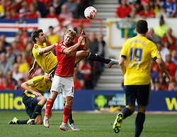 George Friend of Middlesbrough (L) and Jamie Ward of Nottingham Forest in action - Mandatory byline: Jack Phillips / JMP - 07966386802 - 19/9/2015 - FOOTBALL - The City Ground - Nottingham, Nottinghamshire - Nottingham Forest v Middlesbrough - Sky Bet Championship