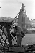 Eric Scott cutting up the bridge at Cadeby Colliery.