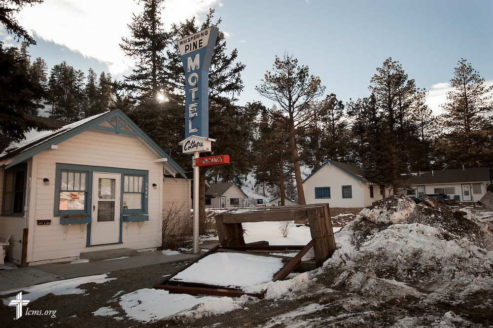 Exterior photograph of Whispering Pines Cottages on the River, which was extensively damaged in the September floods, on Tuesday, Jan. 7, 2014, in Estes Park, Colo. LCMS Communications/Erik M. Lunsford