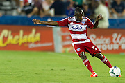 FRISCO, TX - AUGUST 11:  Jair Benitez #5 of FC Dallas clears the ball against the Los Angeles Galaxy on August 11, 2013 at FC Dallas Stadium in Frisco, Texas.  (Photo by Cooper Neill/Getty Images) *** Local Caption *** Jair Benitez