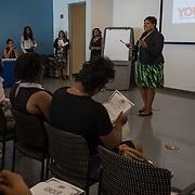 WASHINGTON, DC -JUL22: Courtney Snowden, Deputy D.C. Mayor for Greater Economic Opportunity, talks to 22-24 year old participants in DC's Student Youth Employment Program, SYEP, attending a workplace training session at the Department of Employment Services in Northeast, Washington, DC, July 23, 2015. (Photo by Evelyn Hockstein/For The Washington Post)