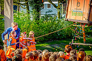 King Willem-Alexander visits the fifth edition of the Koningsspelen (King's games) at the Brede School De Fliert in Twello, The Netherlands, 20 April 2018. The Koningsspelen is an national day for sports and playing at school starting with an breakfast.  copyright robin utrecht