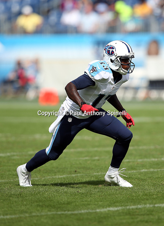 Tennessee Titans wide receiver Kendall Wright (13) goes out for a pass during the NFL week 6 regular season football game against the Jacksonville Jaguars on Sunday, Oct. 12, 2014 in Nashville, Tenn. The Titans won the game 16-14. ©Paul Anthony Spinelli