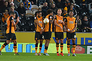 Hull City players defend the goal area during the Sky Bet Championship match between Hull City and Ipswich Town at the KC Stadium, Kingston upon Hull, England on 20 October 2015. Photo by Ian Lyall.