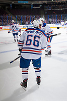 PENTICTON, CANADA - SEPTEMBER 9: Trey Fix-Wolansky #66 of Edmonton Oilers handles the puck during warm up against the Winnipeg Jets on September 9, 2017 at the South Okanagan Event Centre in Penticton, British Columbia, Canada.  (Photo by Marissa Baecker/Shoot the Breeze)  *** Local Caption ***