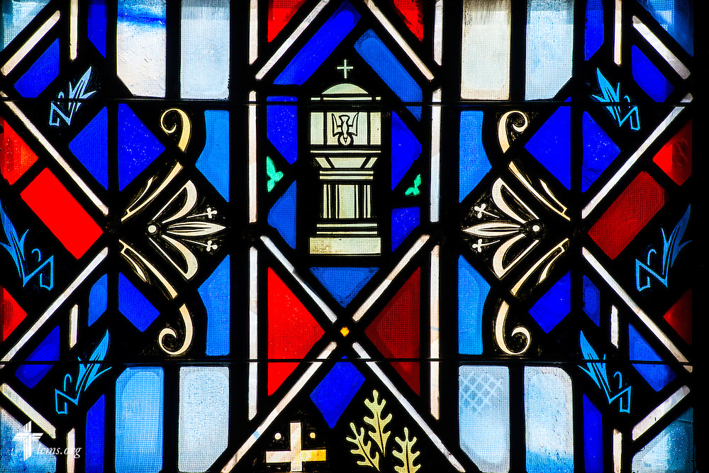 Stained glass at Luther Memorial Chapel depicts the baptismal font on Friday, Jan. 29, 2016, in Shorewood, Wis. LCMS Communications/Erik M. Lunsford