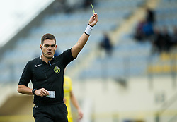 Referee Roberto Ponis with yellow card in his hand during football match between NK Domzale and NK Celje in 16th Round of Prva liga Telekom Slovenije 2018/19, on November 11, 2018 in Sportni Park, Domzale, Slovenia. Photo by Vid Ponikvar / Sportida