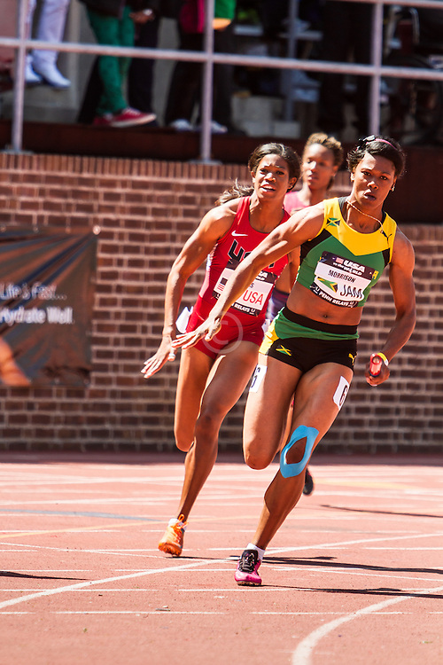 Penn Relays, USA vs the World, womens 4 x 200 meter relay, Morris, Jamaica vs. Lucas, USA, anchor leg