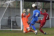 Greenwich Borough's Mohamed Eisa lifts ball over the keeper to score (5-0)during the Southern Counties East match between AFC Croydon Athletic and Greenwich Borough at the Mayfield Stadium, Croydon, United Kingdom on 12 March 2016. Photo by Martin Cole.