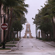 Worth Avenue is empty as some locals gather in Palm Beach Wednesday October 6, 2016, waiting for the arrival of Hurricane Matthew. Warnings are in place along much of Florida's Atlantic coastline, coastline, for Category 3 Hurricane Matthew.<br />