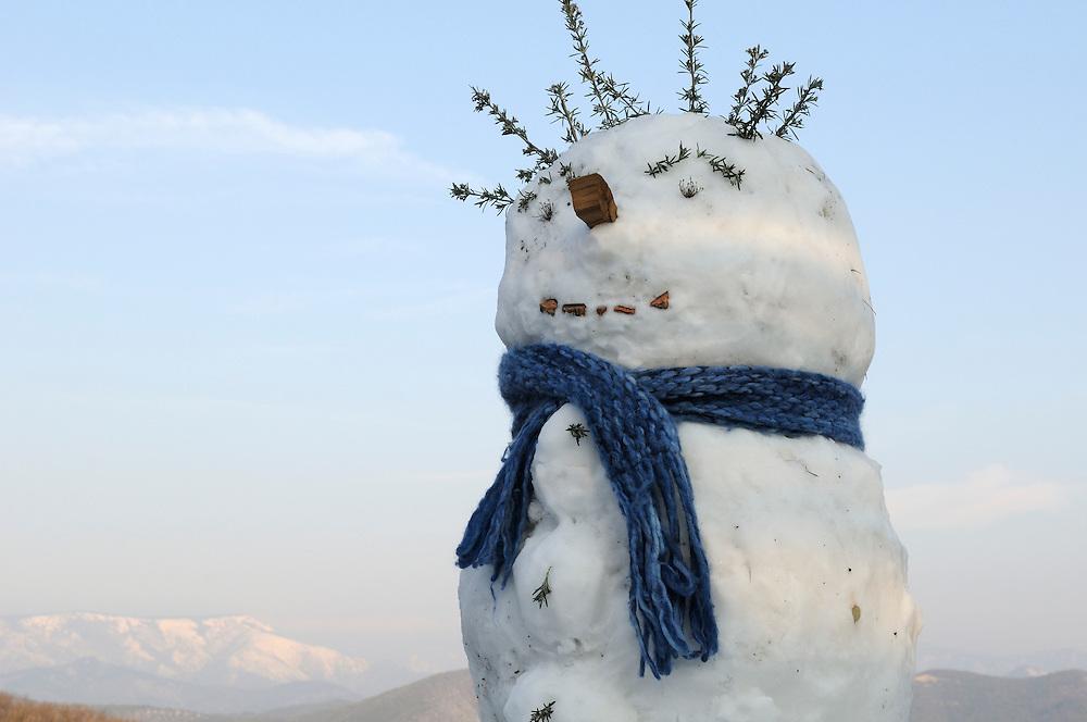 France, Languedoc Roussillon, Cévennes, bonhomme de neige, snowman