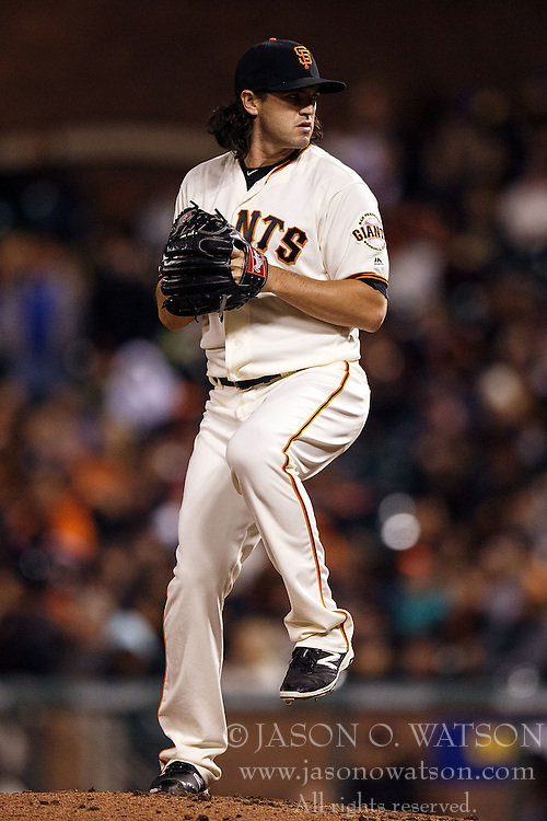 SAN FRANCISCO, CA - APRIL 18: Cory Gearrin #62 of the San Francisco Giants pitches against the Arizona Diamondbacks during the sixth inning at AT&T Park on April 18, 2016 in San Francisco, California. The Arizona Diamondbacks defeated the San Francisco Giants 9-7 in 11 innings.  (Photo by Jason O. Watson/Getty Images) *** Local Caption *** Cory Gearrin