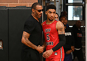 Tuff Crowd Power Forward Kenyon Martin Jr. (5) (right) hugs his father, Kenyon Martin (left) during a Drew League basketball game, Saturday, June 15, 2019, in Los Angeles.  (Dylan Stewart/Image of Sport)