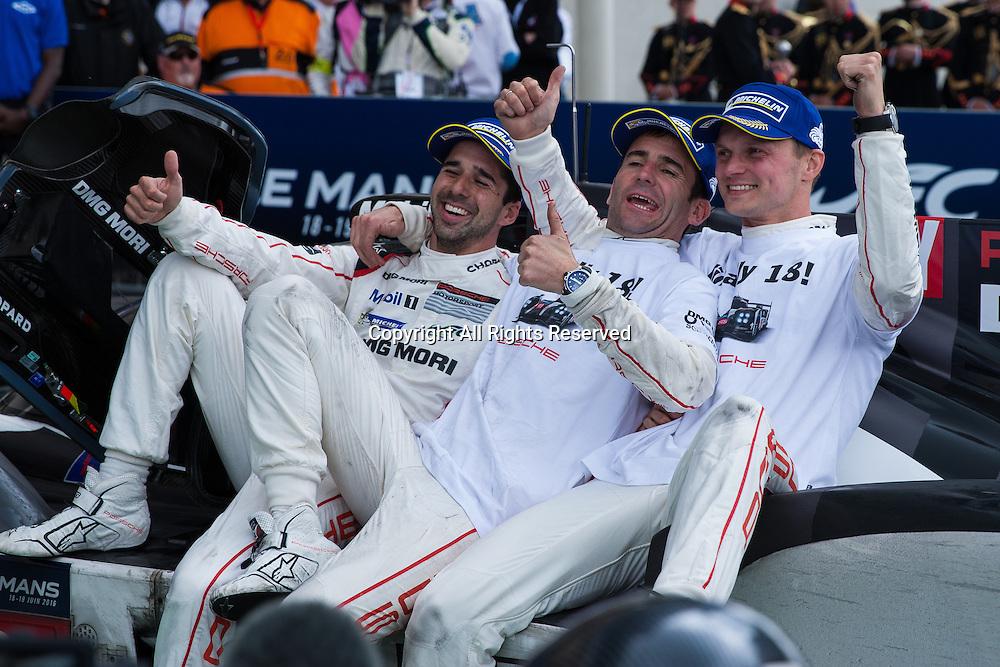 19.06.2016. Le Mans Circuit, Le Mans, France. Le Mans 24 Hours Race. Winning drivers Romain Dumas, Marc Lieb and Neel Jani.