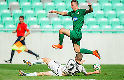 Marin Peric of Krka vs Andraz Sporar #10 of Olimpija during football match between NK Olimpija and NK Krka in Round 1 of Prva liga Telekom Slovenije 2014/15, on July 19, 2014 in SRC Stozice, Ljubljana, Slovenia. Photo by Vid Ponikvar / Sportida.com