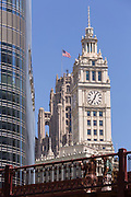 Wrigley Building and Tribune Tower seen from the Riverwalk in Chicago, Illinois, USA