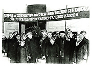 USSR 1929: Workers leaving for the country to apply collectivisation and assist the peasants in the organisation of the Kol Khoz (Collective Farms).