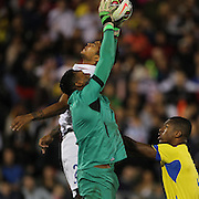 Goalkeeper Máximo Banguera, Ecuador, catches a cross   during the USA Vs Ecuador International match at Rentschler Field, Hartford, Connecticut. USA. 10th October 2014. Photo Tim Clayton