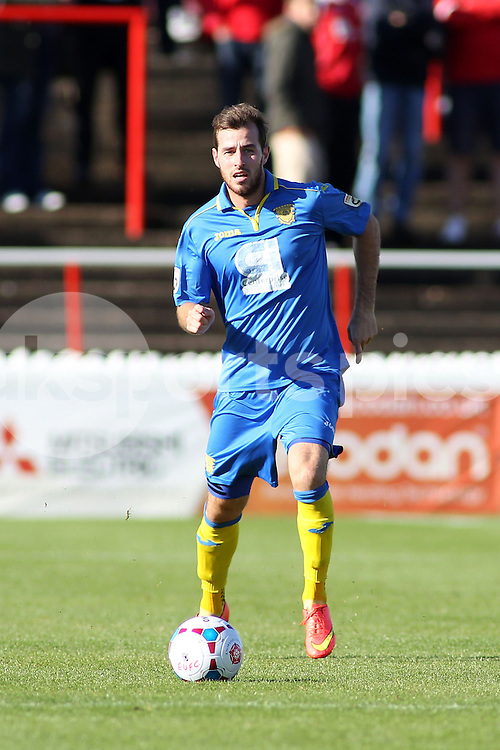 Basingstoke's Shaun McAuley in action during the FA Cup 3Q match between Ebbsfleet United v Basingstoke Town, Stonebridge Road, Northfleet, Kent DA11 9GN on 11 October 2014. Photo by Ken Sparks.