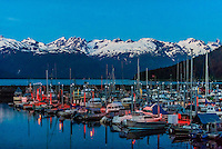 Harbor in Haines, Alaska USA at twilight.