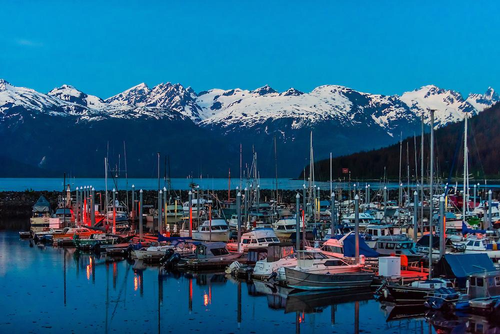 Harbor in Haines, Alaska USA at twilight.