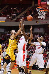05 December 2009: Marko Spica and Dinma Odiakosa get physical trying to grab a rebound from a ball shot by Spica. The Chippewas of Central Michigan are defeated by the Redbirds of Illinois State 75-62 on Doug Collins Court inside Redbird Arena in Normal Illinois.