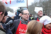 BBCS NICK ROBINSON ALONG WITH MP'S AND LORDS TAKE PART IN THE ANNUAL 'REHAB' SHROVE TUESDAY PANCAKE RACE AT VICTORIA PARK WESTMINSTER
