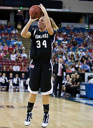 March 27, 2010; Sacramento, CA, USA; Gonzaga Bulldogs guard Tiffanie Shives (34) shoots a three point shot against the Xavier Musketeers during the first half in the semifinals of the Sacramental regional in the 2010 NCAA womens basketball tournament at ARCO Arena.  Xavier defeated Gonzaga 74-56.