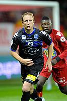 FOOTBALL - FRENCH CHAMPIONSHIP 2011/2012 - LE MANS FC v SC BASTIA   - 4/05/2015 - PHOTO PASCAL ALLEE / DPPI - DAVID SUAREZ (BASTIA) / FERNANDER KASSAI (LE MANS)
