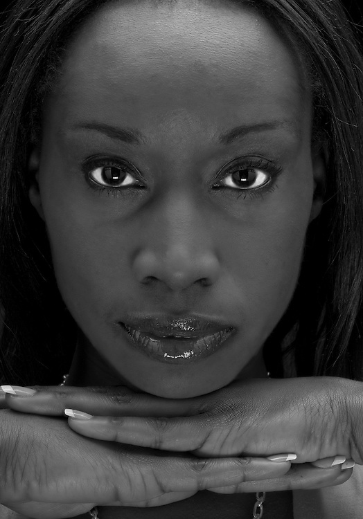 Black and White portrait of young african american.