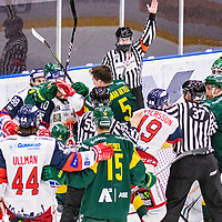 2019-11-20 | Umeå, Sweden: Fight in HockeyAllsvenskan during the game  between Björklöven and Västervik at A3 Arena ( Photo by: Michael Lundström | Swe Press Photo )<br /> <br /> Keywords: Umeå, Hockey, HockeyAllsvenskan, A3 Arena, Björklöven, Västervik, mlbv191120