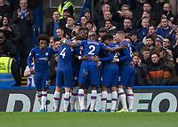 Football - 2019 / 2020 Premier League - Chelsea vs. Burnley<br /> <br /> Chelsea players celebrate after scoring at Stamford Bridge <br /> <br /> COLORSPORT/DANIEL BEARHAM