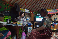 Mongolia. Ulaanbaatar. Mrs Batzaya Otgonzaya , in the yurt of Mme Tserendolgor, her  master shaman . cooking drinking and eating.  Ulaan baatar