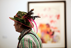 UK ENGLAND LONDON 4OCT17 - A visitor enjoys the works of art on display during the Frieze Masters art fair in Regents Park, central London.<br /> <br /> jre/Photo by Jiri Rezac<br /> <br /> &copy; Jiri Rezac 2017