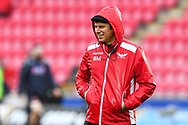 Head Coach Brad Mooar of Scarlets during the pre match warm up<br /> <br /> Photographer Craig Thomas/Replay Images<br /> <br /> Guinness PRO14 Round 11 - Scarlets v Edinburgh - Saturday 15th February 2020 - Parc y Scarlets - Llanelli<br /> <br /> World Copyright © Replay Images . All rights reserved. info@replayimages.co.uk - http://replayimages.co.uk